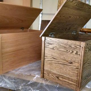 Oak toyboxes with 60 lb lid stay torsion hinges.