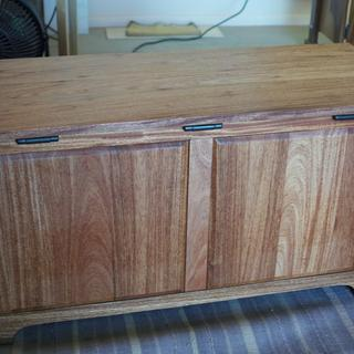 Three Rockler Lid-Stay Torsion hinges, rear of blanket chest