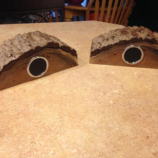 Wireless Bluetooth speakers in half cut log