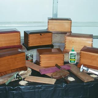 Keesake boxes of 300 year old pine glued with Titebond III.