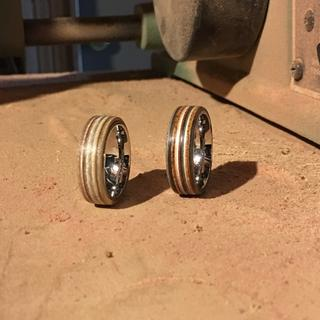 These are beauties! I had an idea to cut squares out of the veneer. glue lam, then made rings.