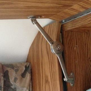 Makes the perfect support for the overhead cabinet doors in my trailer.