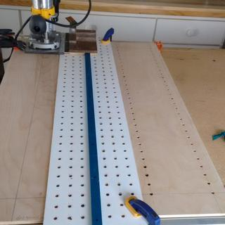 On the right is one side completed with the jig set up for the next row.
