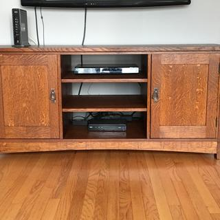 I made this solid white oak entertainment center and used these mission style pulls.