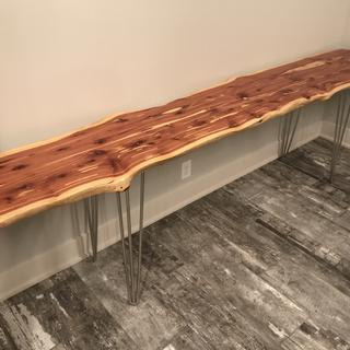 "93"" logs into 96"" space , hair pin legs look great with tile floor"