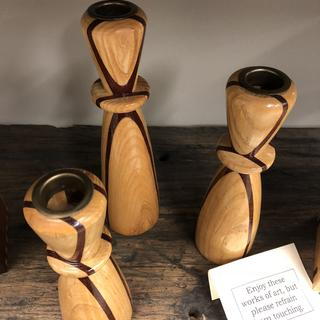 Candle holders. Segmented woods.