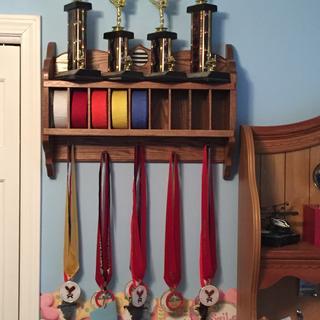 Karate Belt, Ribbon and Trophy Shelf
