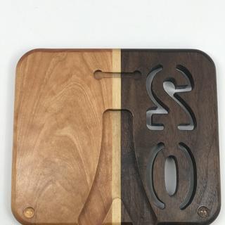 Walnut, Cherry with Maple strip plaque.