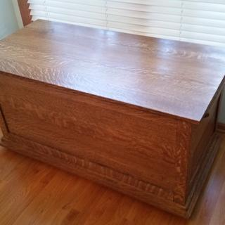 Quarter sawn white oak blanket chest I built in 2015, using a medium brown stain