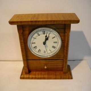 Mantel clock made with curly maple