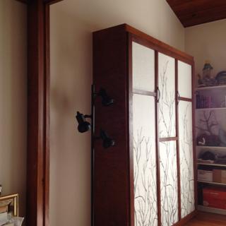 Birch plywood, poplar trim, fabric curtains.