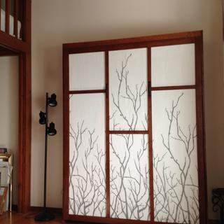 Birch plywood, poplar trim strips, fabric curtains on face.