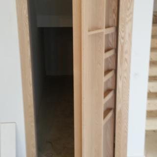 1x4 trim on wall could be skipped with a finished drywall opening. We set a door jamb.