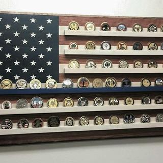 My new Challenge Coin Holder on display. My first attempt at woodworking since I was a kid.