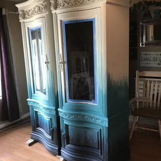 Ombre cabinets Antique white Coastal blue  And a custom mixed teal Sealed with High Performance