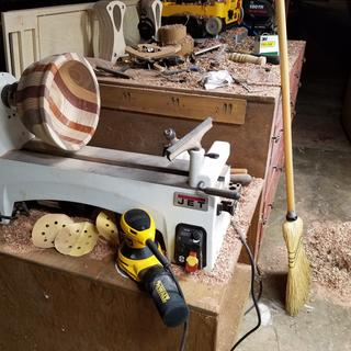 It was much easier to use sitting where my table saw goes.