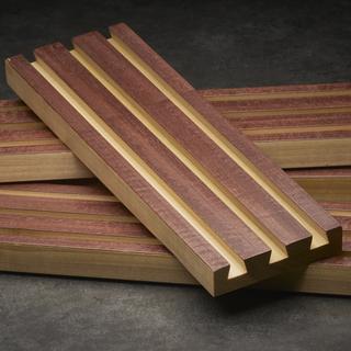 Purpleheart veneer on a poplar plank.