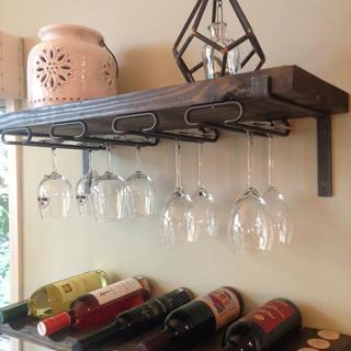 Rather than adding these stemware racks to a cabinet, I built a dedicated wine shelf
