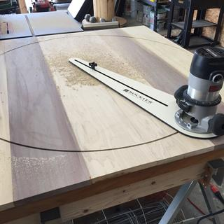 Cutting with my Rockler jig.