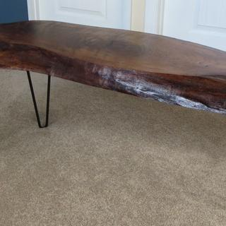 Walnut Table with three hairpin legs.