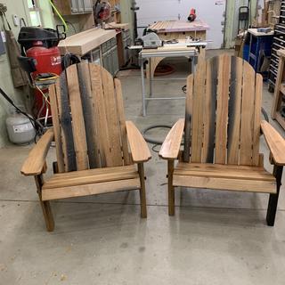Folding Adirondack Chairs I built using white oak.