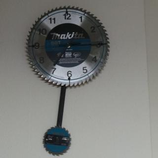 New shop clock. Note that the pendulum is a carpenter's pencil.