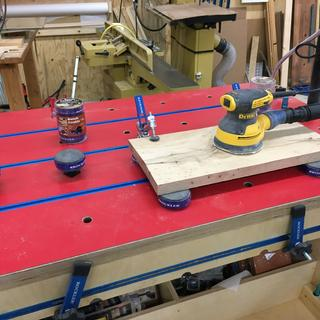 Bench dog adapted cookies don't slide with vigorous sanding.  Extensions great well for routingL