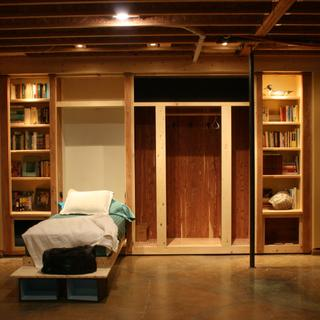 Single Murphy bed, great fill-in next to a cedar closet (that still needs doors)