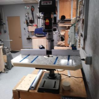 Drill press with shop-built table and Rockler fence.