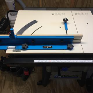 "crosscut sled with drop-off platform mounted on my Delta 10"" contractors table saw."