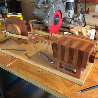 Wooden steam engine built using a Porter cable router and radial arm saw.