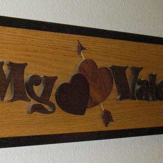 "Oak and ebony wall hanging "" My Valentine"" which was given to my wife."