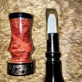 Red Mallee Burl barrel with aluminum inlay with ebony cap and jigged ebony insert duck call