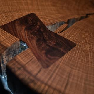 Walnut inlay on sliced oak slab