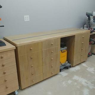 View of miter saw station with t-track