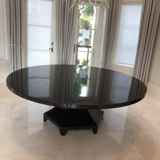 7 ft custom made circle table made out of smoked Eucalyptus
