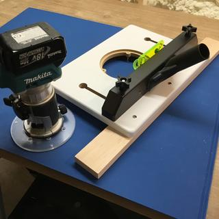 "Rockler Trim Router Table with clamp strip and Shop-Vac 1.25"" vacuum attachment."