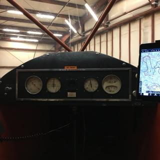 iPad mini as seen from rear seat of Piper J-5A