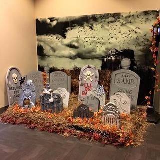 ZOMBIE WALL SCENE SETTER Halloween Party Decorations Backdrop Graves Cemetery