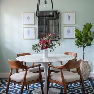 Our marble table goes great with our vintage Jasper chairs.