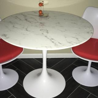 "Lippa 36"" Artificial Marble Dining Table in White"
