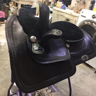 tan saddle made black