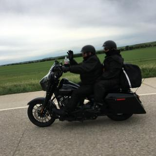 Riding back from S.D. with new helmets.