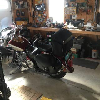 From the left, showing the sissy bar bag added after the saddlebags