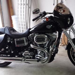'17 Low Rider. Cobra slash down can, Memphis Shades mini fairing, HD Low Rider S model solo seat.