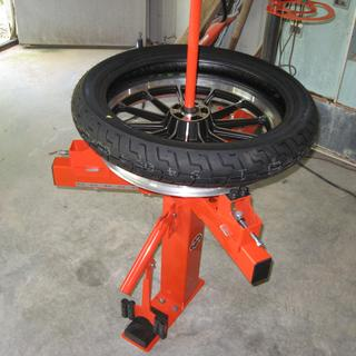 Tire on wheel before mounting.