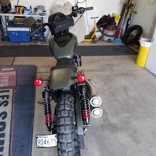 Rear view Saddlemen Eliminator on 2018 Sportster.