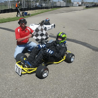 My new helmet in action.. First race, first win!  Thanks, Dennis Kirk