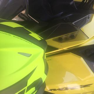 This helmet is not yellow like the stock picture shows.