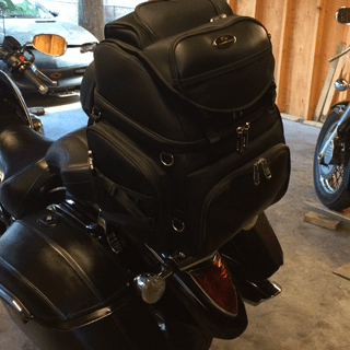 Saddleman BR3400  mounted to the sissy bar of my 2014 V Star 1300 Tourer